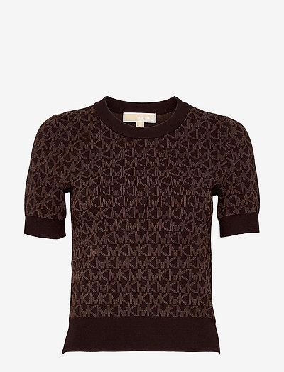 BOLD MK LOGO SS CREW - gebreide t-shirts - chocolate