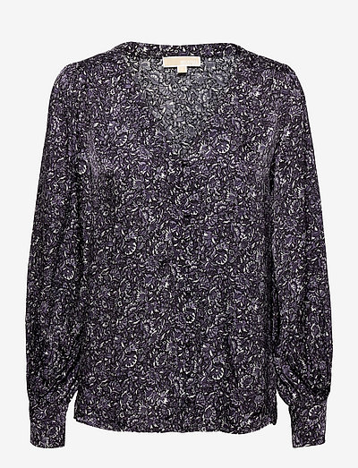 HIPPIE FLWR BTN DOWN TP - blouses met lange mouwen - deep purple