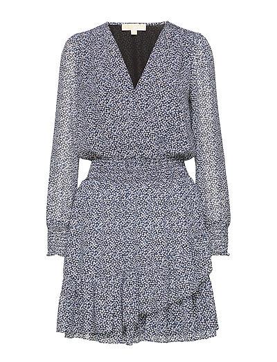 Ruffle Wrap Dress Kurzes Kleid Blau MICHAEL KORS