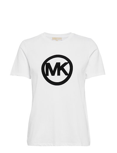 Circle Logo Flock Tee T-Shirt Top Weiß MICHAEL KORS