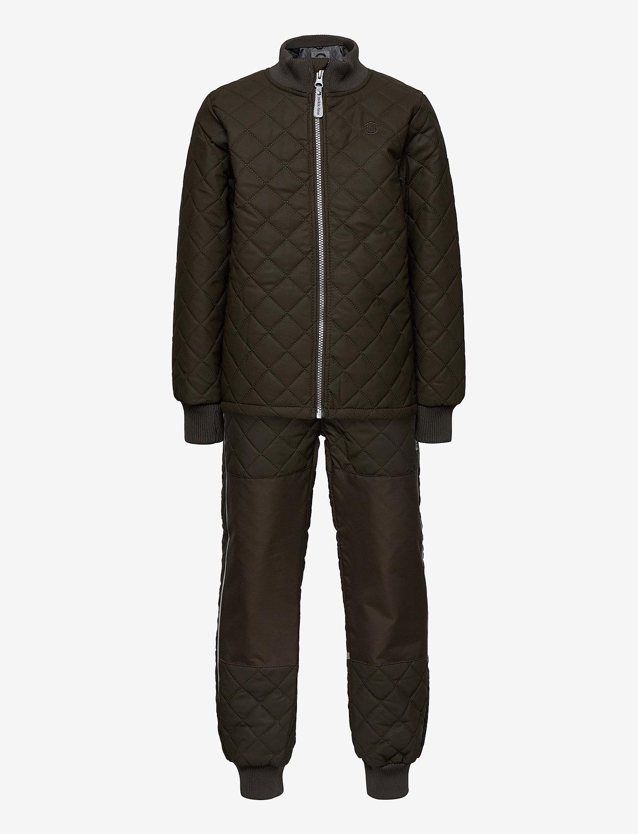Mikk-Line - Duvet Set - No Fleece - termotøj - black olive - 0