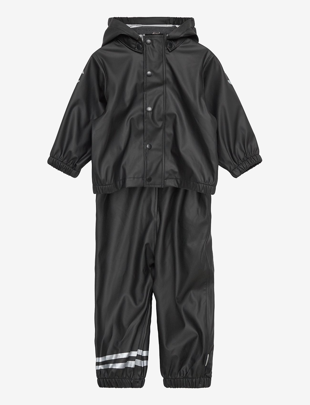 Mikk-Line - PU Rain Set w. Susp/110 - sets & suits - black - 0