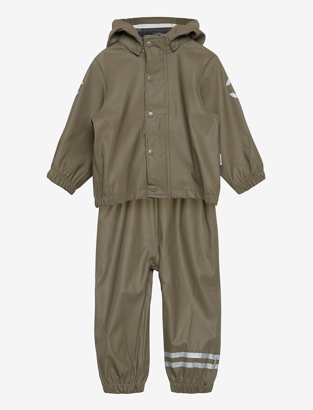Mikk-Line - PU Rain Set w. Susp/110 - sets & suits - dusty olive - 0