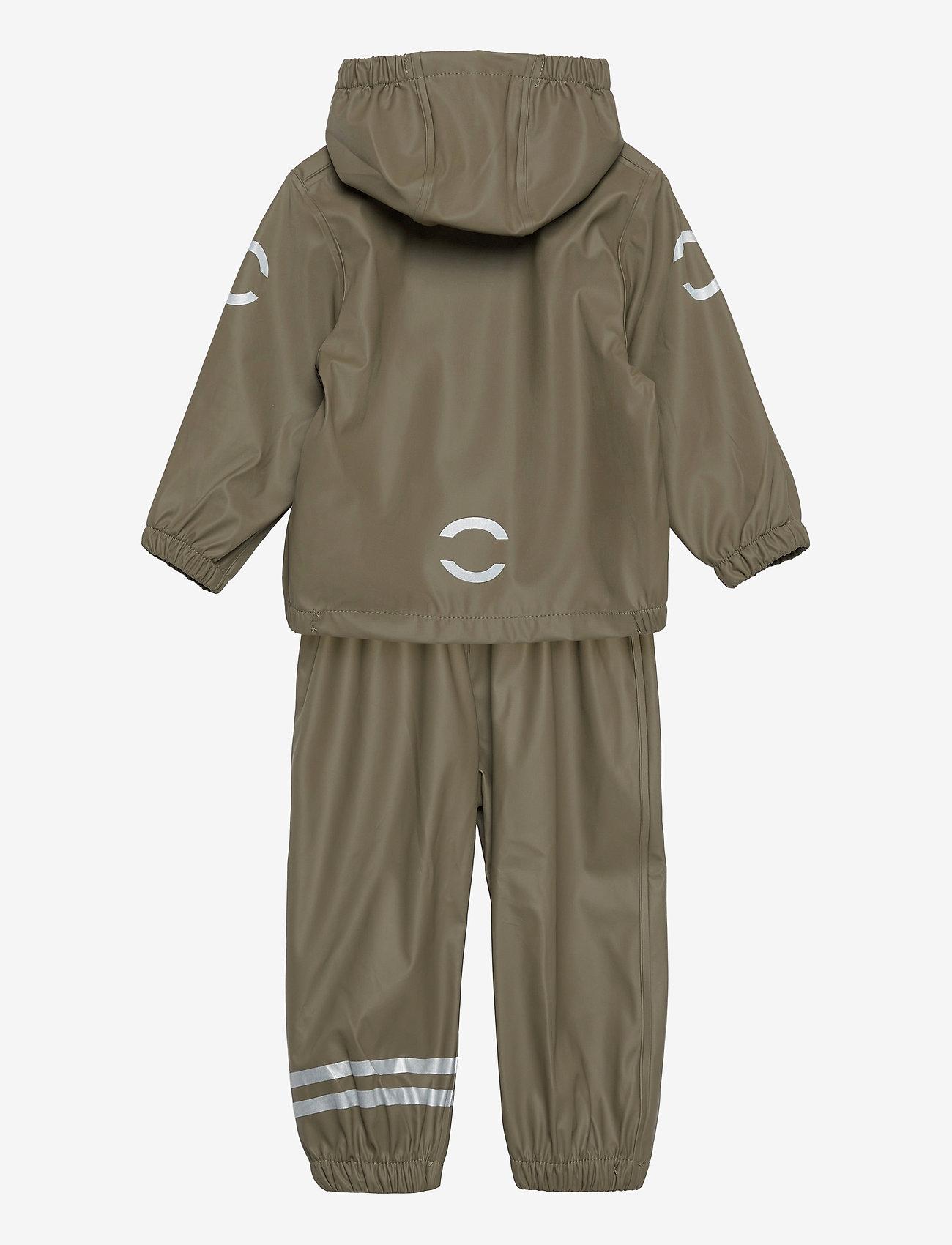 Mikk-Line - PU Rain Set w. Susp/110 - sets & suits - dusty olive - 1