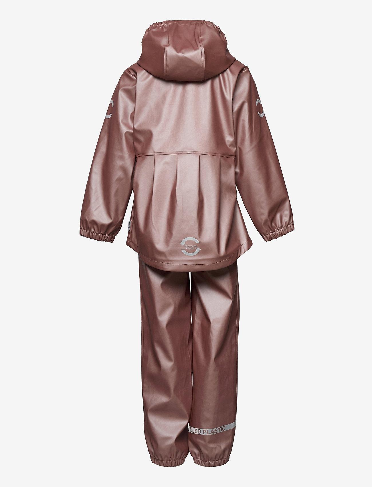 Mikk-Line - PU Metalic Rain Set Rec. w. Susp/110 - sets & suits - adobe rose - 1