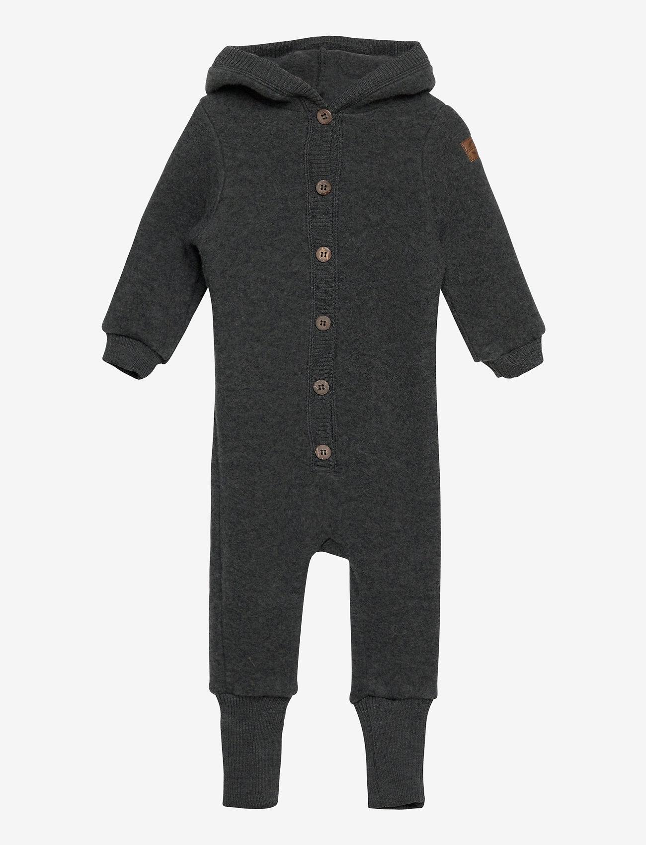 Mikk-Line - Wool Baby Suit w. Hood - basislag - anthracite melange - 0