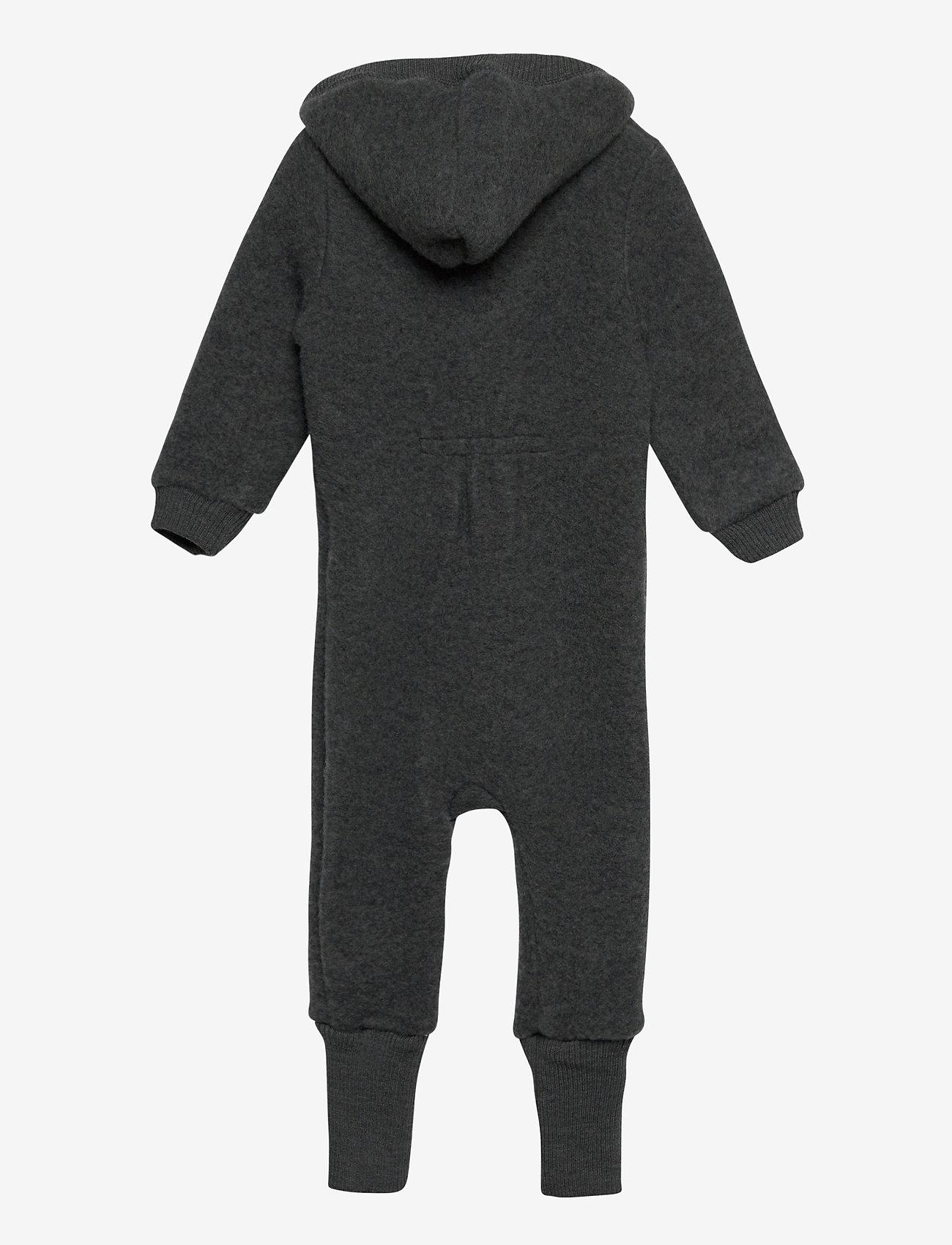 Mikk-Line - Wool Baby Suit w. Hood - basislag - anthracite melange - 1