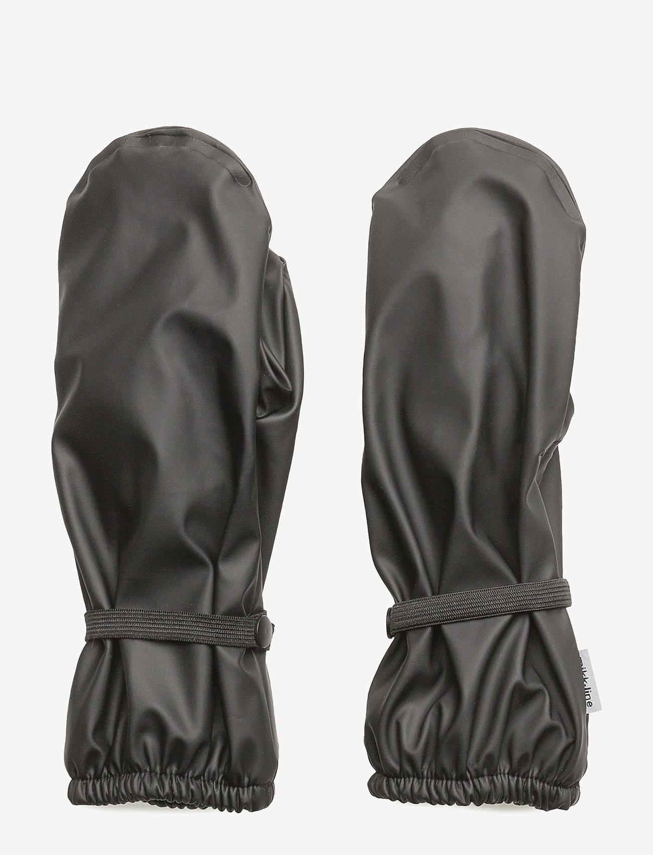 Mikk-Line - PU Rain Mittens w. Fleece - 190 black - 0