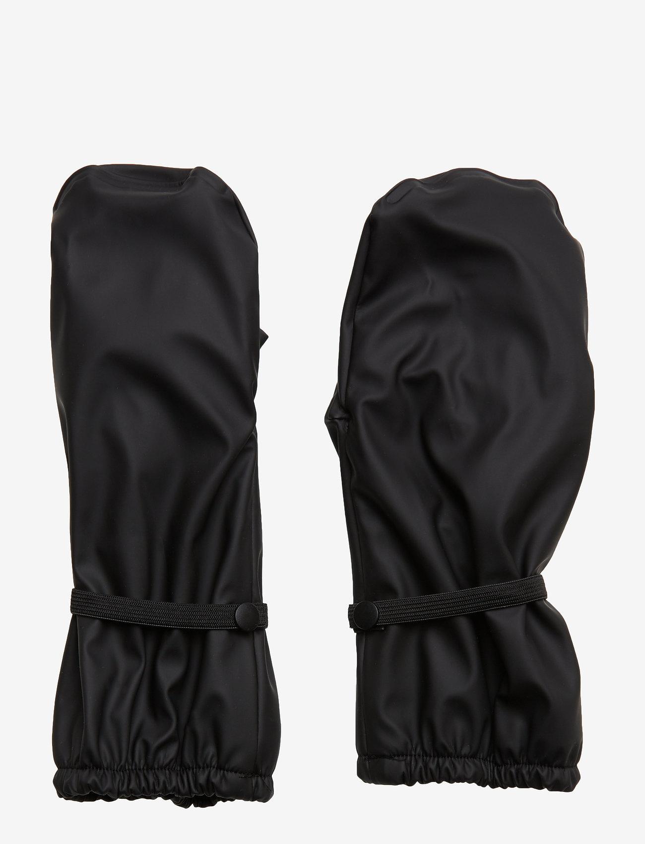 Mikk-Line - PU RAIN mittens with fleece - vintertøj - black - 0