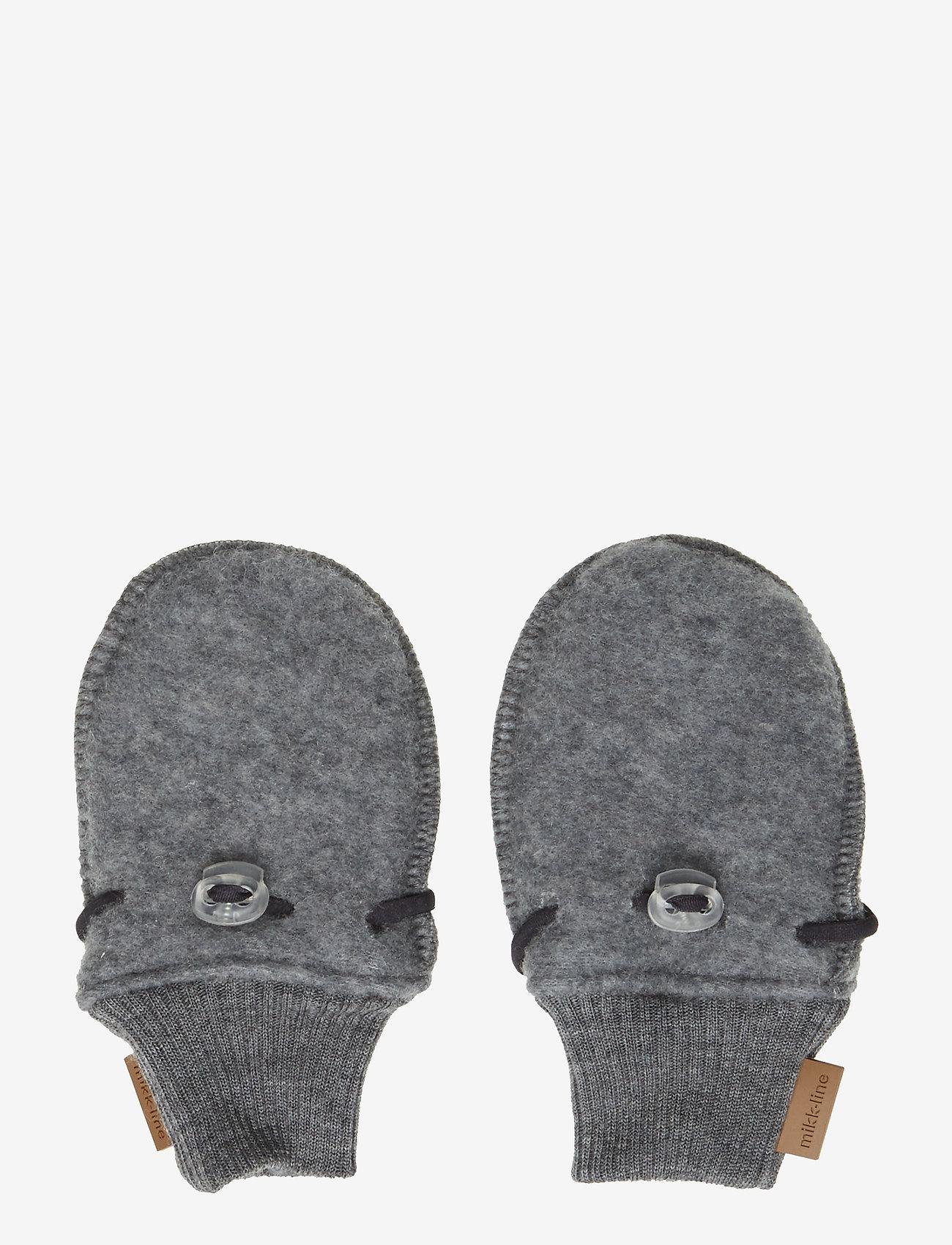 Mikk-Line - Wool mittens - vantar - 916/melangegrey - 0