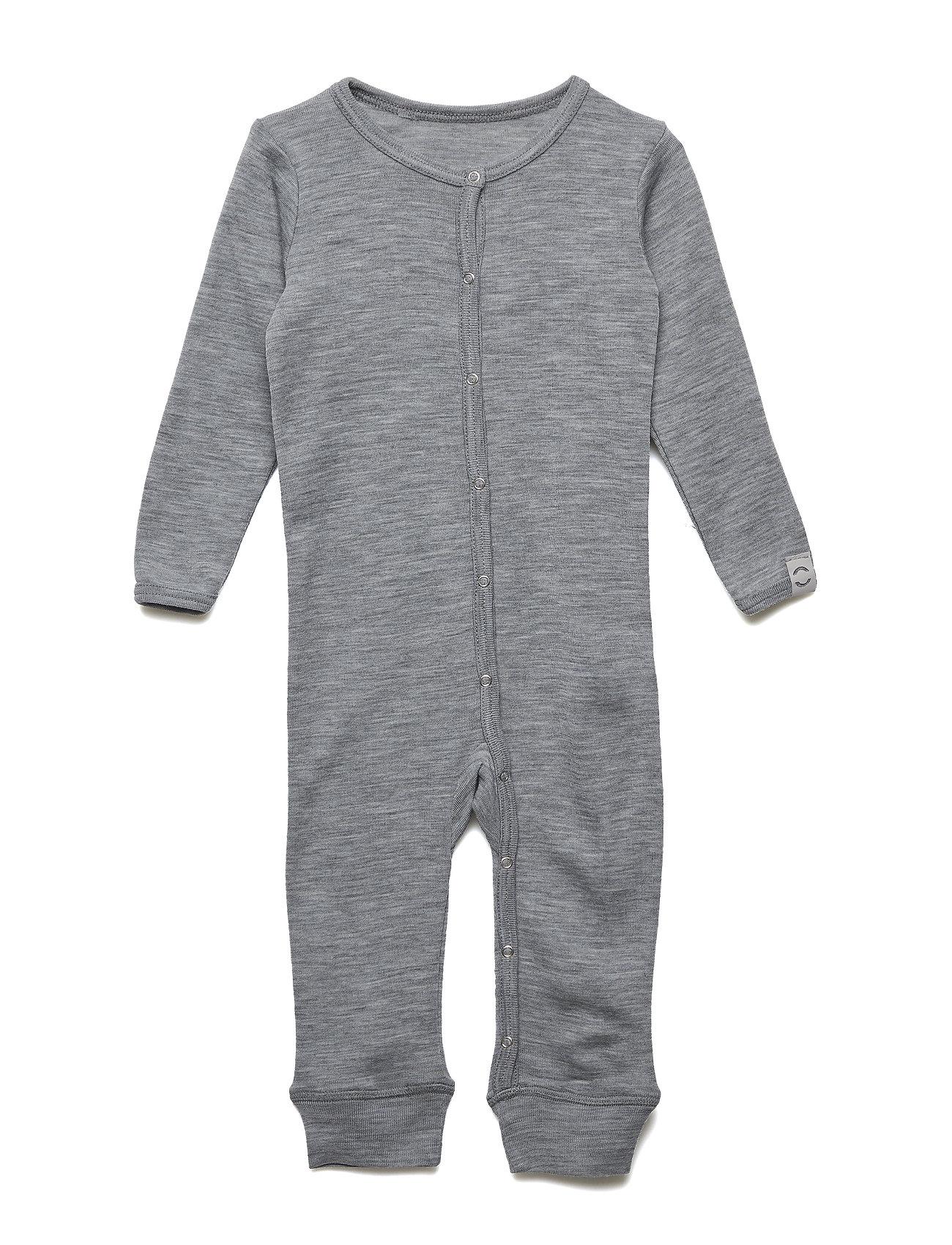 Mikk-Line WOOL Baby LS suit - PEARL GREY MELANGE