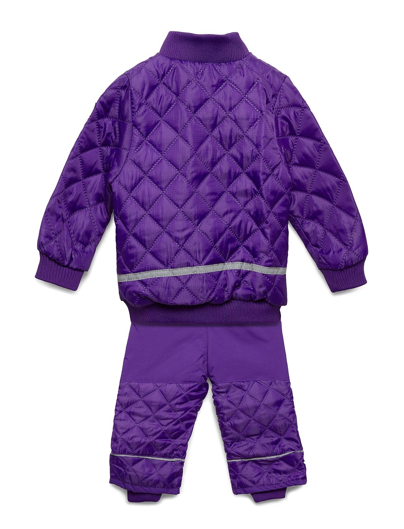 Mikk-Line Termo set w. fleece in jacket - 741/DARK VIOLET (REDDISH)