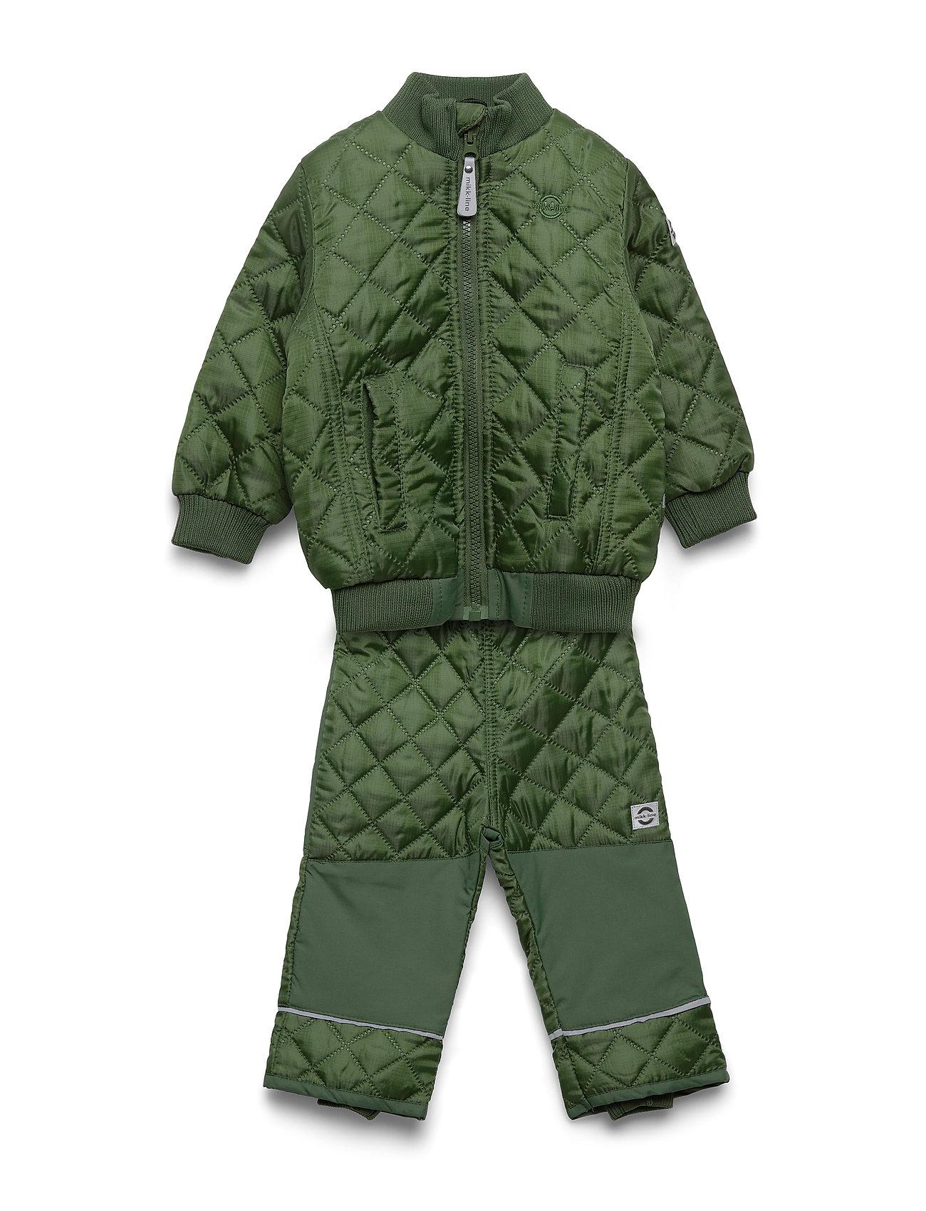 Mikk-Line Termo set w. fleece in jacket - ARMY GREEN