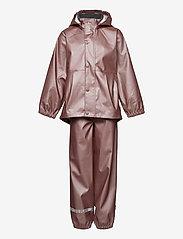Mikk-Line - PU Metalic Rain Set Rec. w. Susp/110 - sets & suits - adobe rose - 0