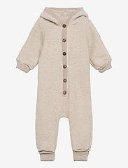 Mikk-Line - Wool Baby Suit w. Hood - basislag - melange offwhite - 0