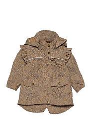 Polyester Tussor Baby Girl Jacket AOP - CAFE AU LAIT