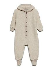 WOOL Baby suit w/hat - 429/MELANGEOFFWHITE