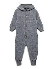 WOOL Baby suit w/hat - 916/MELANGEGREY