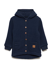WOOL Cardigan w/hood+pockets - BLUE NIGHTS
