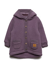 WOOL Cardigan w/hood+pockets - FLINT