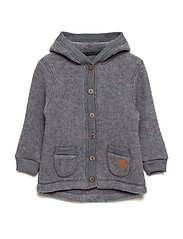 WOOL Cardigan w/hood+pockets - MELANGE GREY