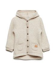 WOOL Cardigan w/hood+pockets - MELANGE OFFWHITE