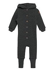 Wool Baby Suit w. Hood - ANTHRACITE MELANGE