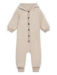 Wool Baby Suit w. Hood - MELANGE OFFWHITE