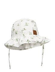 Summer Bucket Hat  Frill - Aop - WHITE
