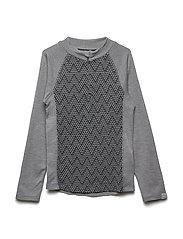WOOL Jacquard Pullover w/zip - PEARL GREY MELANGE