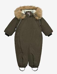 Twill Nylon Outdoor Baby Wholesuit - snowsuit - black olive