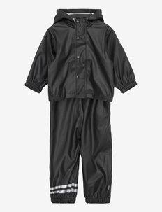 PU Rain Set w. Susp/110 - sæt & heldragter - black