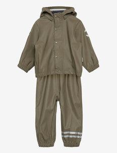 PU Rain Set w. Susp/110 - sets & suits - dusty olive