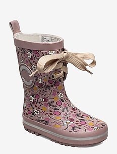 Printed Wellies w. Lace - ELDERBERRY