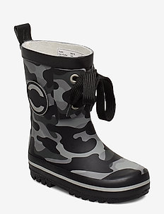 Printed Wellies w. Lace - BLACK