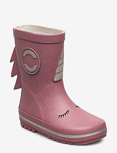 Girls 3D Wellies w. Shimmer - rubberboots - heather rose
