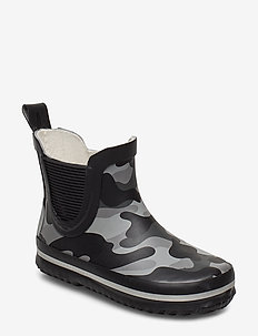 Short Wellies - AOP - BLACK
