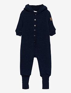 WOOL Baby suit w/hat - fleece - 287/bluenights