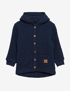 WOOL Cardigan w/hood+pockets - wełna - blue nights