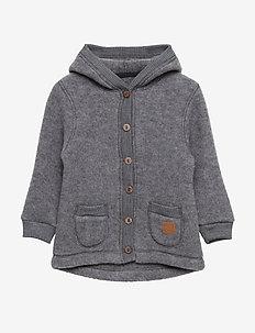 WOOL Cardigan w/hood+pockets - MELANGE GREY