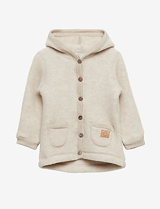 WOOL Cardigan w/hood+pockets - wool - melange offwhite