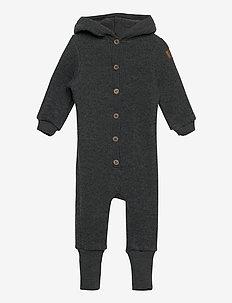 Wool Baby Suit w. Hood - basislag - anthracite melange