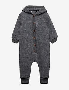 Wool Baby Suit w. Hood - MELANGE GREY