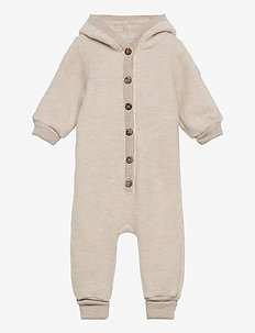 Wool Baby Suit w. Hood - couches de base - melange offwhite