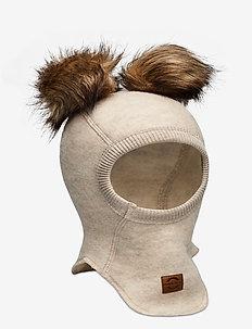 Wool Fullface w. Pom Pom - balaclava - melange offwhite