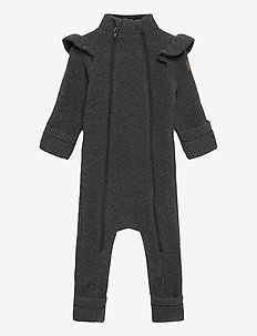 Wool Double Zip Frill Suit - wełna - anthracite melange