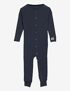 Wool Baby Suit - długi rękaw - blue nights
