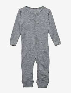 WOOL Baby LS suit - PEARL GREY MELANGE
