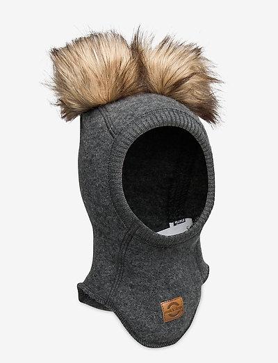 Wool Fullface w. Pom Pom - balaclava - anthracite melange