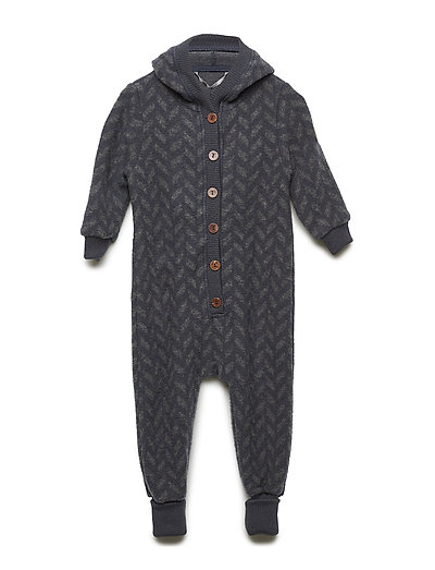 WOOL Jacquard suit w/hood - BLUE NIGHTS